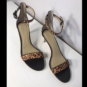 Ann Taylor Haircalf Kitten Sandal- Cheetah Print